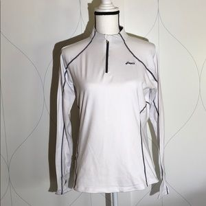 Asics 1/4 zip pullover athletic top white M